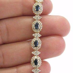 Jewelry - Fine Gem Sapphire Diamond Yellow Gold Cluster Brac